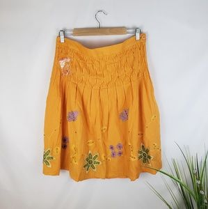 Orange Floral Embellished Boho Skirt Size Large
